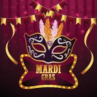 Carte de voeux de fête de carnaval avec masque sur fond violet vecteur