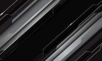 Abstrait argent gris noir métallisé technologie géométrique cyber circuit ligne slash futuriste design illustration vectorielle moderne. vecteur