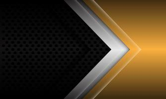 direction de la flèche abstraite or argent sur cercle métallique noir maille design illustration vectorielle de fond futuriste moderne. vecteur