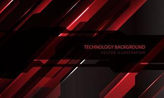 technologie abstraite cyber circuit rouge noir barre oblique métallique vitesse bannière sombre transparence chevauchement conception illustration vectorielle de fond futuriste moderne. vecteur