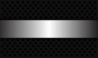 fond abstrait maille cercle argent se chevauchent sur illustration vectorielle futuriste moderne design gris foncé. vecteur