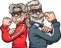 grands-parents cool fléchissant les bras vecteur