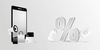 achats de téléphones mobiles réalistes avec conception de bannière de pourcentage vecteur
