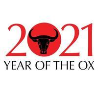 année noire rouge du bœuf graphique de typographie nouvel an chinois vecteur