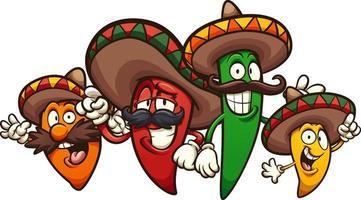 dessin animé de piments mexicains vecteur