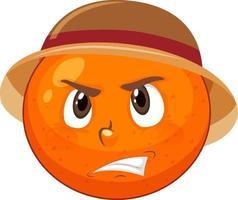 personnage de dessin animé orange avec expression faciale vecteur