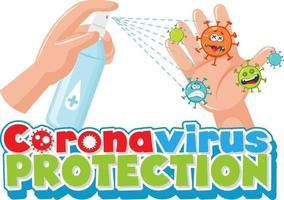 Police de protection contre les coronavirus avec la main à l'aide d'un spray désinfectant à l'alcool