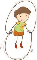 personnage de dessin animé mignon garçon dans un style doodle dessiné à la main vecteur