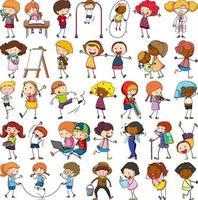 ensemble de différents personnages de dessins animés pour enfants doodle