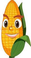 personnage de dessin animé mignon maïs avec expression de visage sur fond blanc