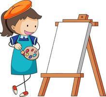 petit personnage de dessin animé d'artiste avec tableau blanc isolé vecteur