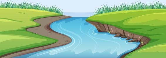 scène de la nature avec rivière et prairie vecteur