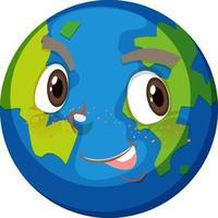 personnage de dessin animé de la terre avec une expression de visage heureux sur fond blanc vecteur