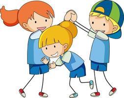 Doodle du personnage de dessin animé pour enfants isolé vecteur