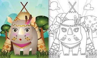 modèle de livre de coloriage pour les enfants avec une illustration de personnage de rhinocéros tribal boho mignon vecteur