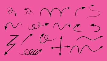 différents types de flèches courbes dessinées à la main sur fond rose vecteur