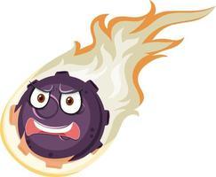 Personnage de dessin animé de météore flamme avec expression de visage en colère sur fond blanc vecteur