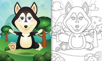 modèle de livre de coloriage pour les enfants avec une illustration de personnage de chien husky mignon