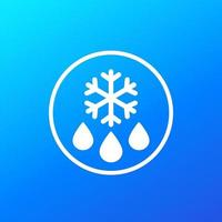 dégivrage, icône de glace à l'eau, signe de vecteur