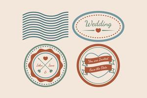 Vecteurs de timbres de mariage Vintage vecteur