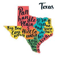Carte de l'état du Texas. lettrage à la main.