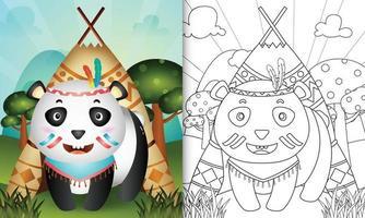 modèle de livre de coloriage pour les enfants avec une illustration de personnage de panda boho tribal mignon vecteur