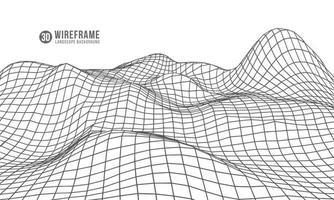 abstrait géométrique avec paysage de montagne numérique. vecteur