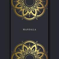 Fond Orné De Mandala Or De Luxe Pour Invitation De Mariage, Couverture De Livre Avec Style Élément Mandala Vecteur Premium