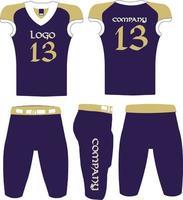 maillot et short d'uniforme de football américain vecteur