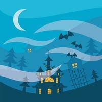 Halloween maisons hantées et pins dans la conception de vecteur de nuit