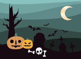 citrouilles d'halloween dans un cimetière à la conception de vecteur de nuit