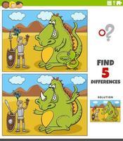 jeu éducatif de différences avec chevalier et dragon