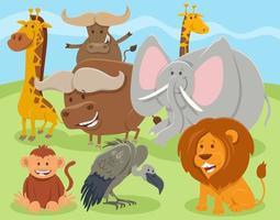dessin animé heureux groupe de personnages animaux sauvages vecteur