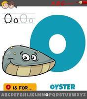 lettre o de l'alphabet avec caractère animal huître vecteur
