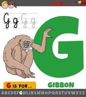 lettre g de l'alphabet avec singe gibbon de dessin animé vecteur