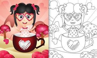 livre de coloriage pour les enfants avec une jolie fille dans la tasse sur le thème de la Saint-Valentin vecteur