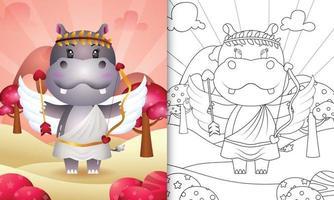 Livre de coloriage pour les enfants avec un ange hippopotame mignon utilisant le costume de Cupidon sur le thème de la Saint-Valentin vecteur