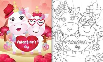 livre de coloriage pour les enfants avec joli couple de licorne saint valentin illustré vecteur