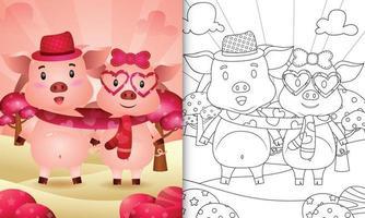 livre de coloriage pour les enfants avec un joli couple de cochons de la Saint-Valentin illustré vecteur