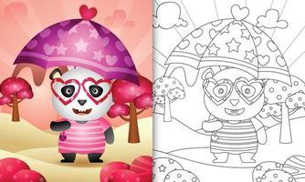 Livre de coloriage pour les enfants avec un panda mignon tenant un parapluie sur le thème de la Saint-Valentin vecteur