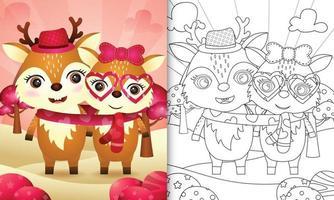 livre de coloriage pour les enfants avec joli couple de cerfs de la Saint-Valentin illustré vecteur