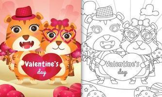 livre de coloriage pour les enfants avec un joli couple de tigre de la Saint-Valentin illustré vecteur
