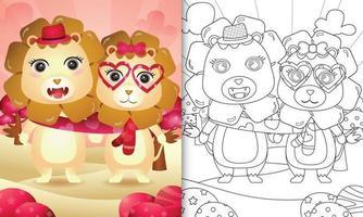 livre de coloriage pour les enfants avec joli couple de lion de la saint-valentin illustré vecteur