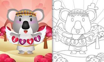 Livre de coloriage pour les enfants avec un ange koala mignon utilisant un costume de cupidon tenant un drapeau en forme de coeur vecteur