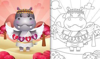 Livre de coloriage pour les enfants avec un joli ange hippopotame utilisant un costume de cupidon tenant un drapeau en forme de coeur vecteur
