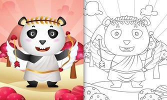 Livre de coloriage pour les enfants avec un ange panda mignon utilisant le costume de Cupidon sur le thème de la Saint-Valentin vecteur