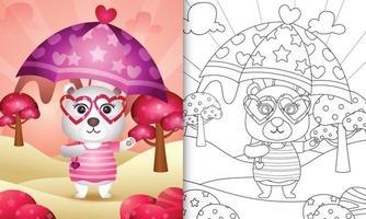 Livre de coloriage pour les enfants avec un ours polaire mignon tenant un parapluie sur le thème de la Saint-Valentin