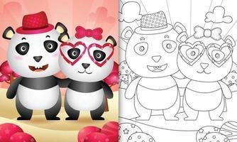 livre de coloriage pour les enfants avec un joli couple de panda sur le thème de la saint-valentin vecteur