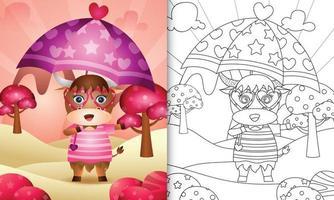 livre de coloriage pour les enfants avec un buffle mignon tenant un parapluie sur le thème de la saint valentin vecteur