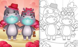 Livre de coloriage pour les enfants avec un joli couple d'hippopotames de la Saint-Valentin utilisant un masque protecteur vecteur